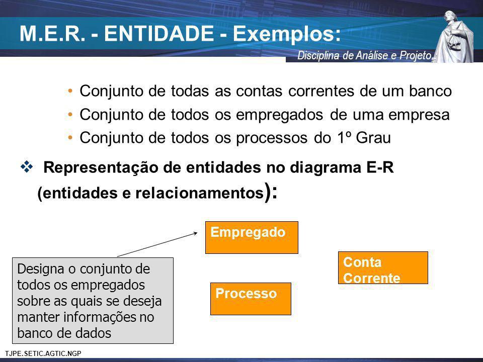 TJPE.SETIC.AGTIC.NGP Disciplina de Análise e Projeto M.E.R. - ENTIDADE - Exemplos: Conjunto de todas as contas correntes de um banco Conjunto de todos