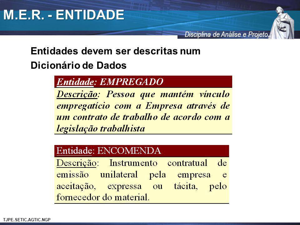 TJPE.SETIC.AGTIC.NGP Disciplina de Análise e Projeto M.E.R. - ENTIDADE Entidades devem ser descritas num Dicionário de Dados