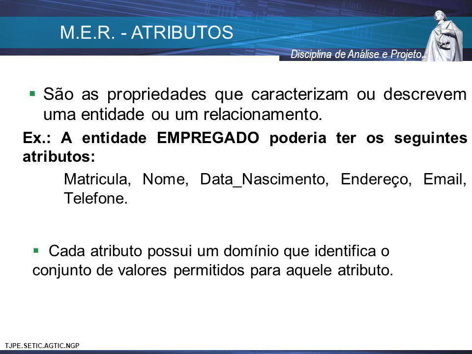 TJPE.SETIC.AGTIC.NGP Disciplina de Análise e Projeto São as propriedades que caracterizam ou descrevem uma entidade ou um relacionamento. Ex.: A entid
