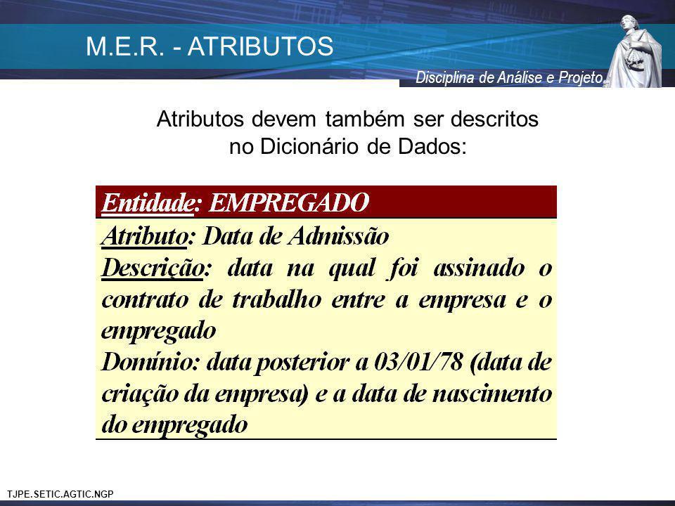 TJPE.SETIC.AGTIC.NGP Disciplina de Análise e Projeto Atributos devem também ser descritos no Dicionário de Dados: M.E.R. - ATRIBUTOS