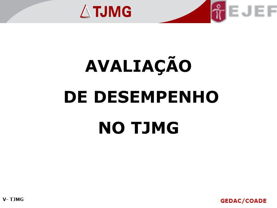 AVALIAÇÃO DE DESEMPENHO NO TJMG V- TJMG GEDAC/COADE V