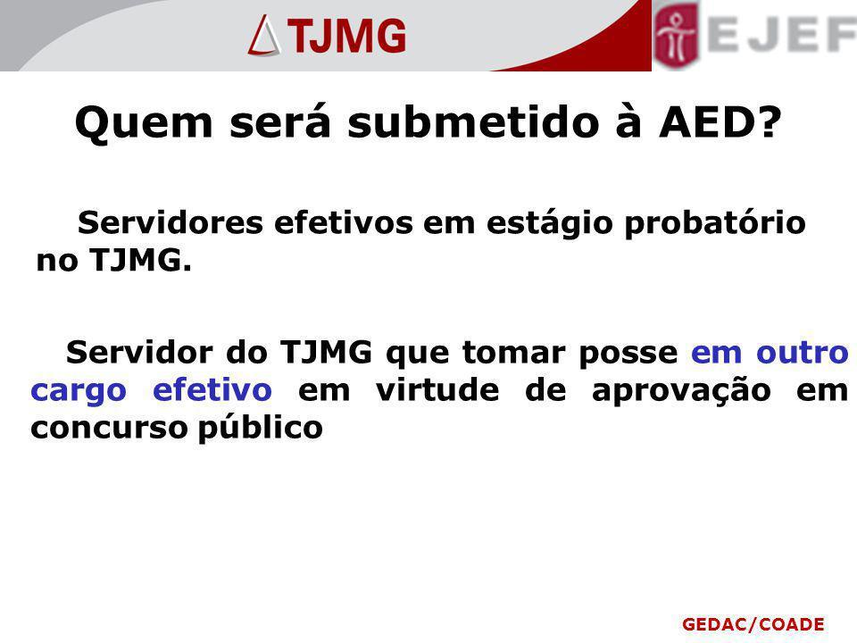 Quem será submetido à AED? Servidores efetivos em estágio probatório no TJMG. Servidor do TJMG que tomar posse em outro cargo efetivo em virtude de ap