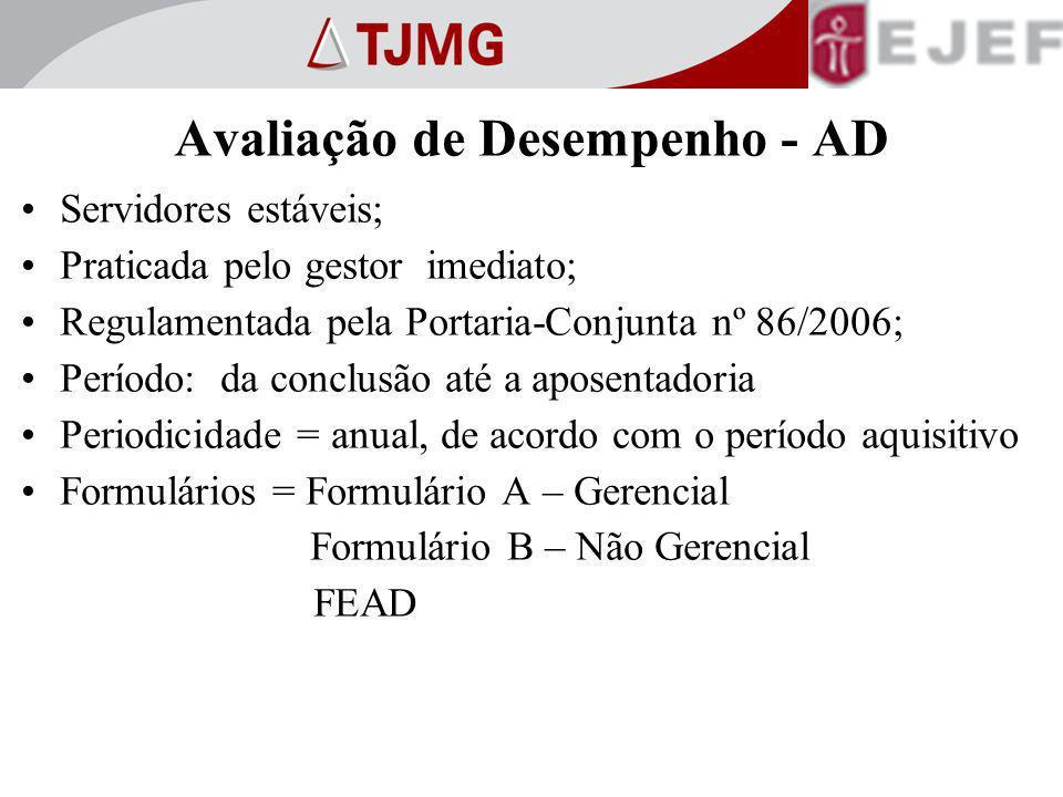 Avaliação de Desempenho - AD Servidores estáveis; Praticada pelo gestor imediato; Regulamentada pela Portaria-Conjunta nº 86/2006; Período: da conclus