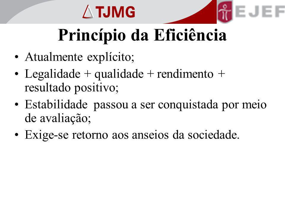 Princípio da Eficiência Atualmente explícito; Legalidade + qualidade + rendimento + resultado positivo; Estabilidade passou a ser conquistada por meio