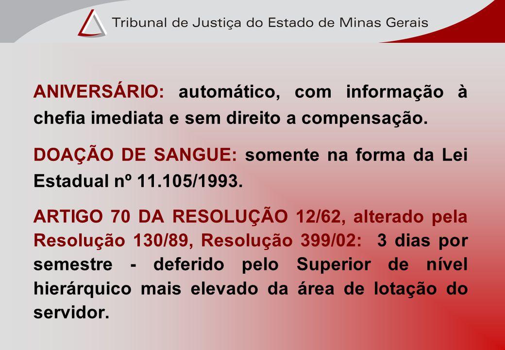 ANIVERSÁRIO: automático, com informação à chefia imediata e sem direito a compensação. DOAÇÃO DE SANGUE: somente na forma da Lei Estadual nº 11.105/19