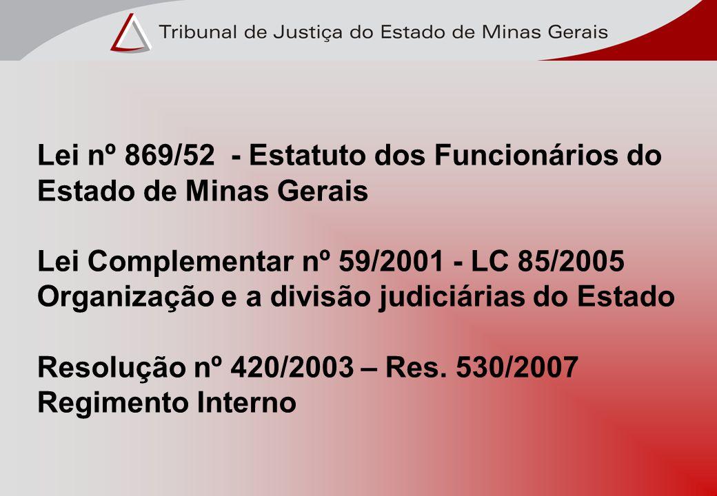 Lei nº 869/52 - Estatuto dos Funcionários do Estado de Minas Gerais Lei Complementar nº 59/2001 - LC 85/2005 Organização e a divisão judiciárias do Es