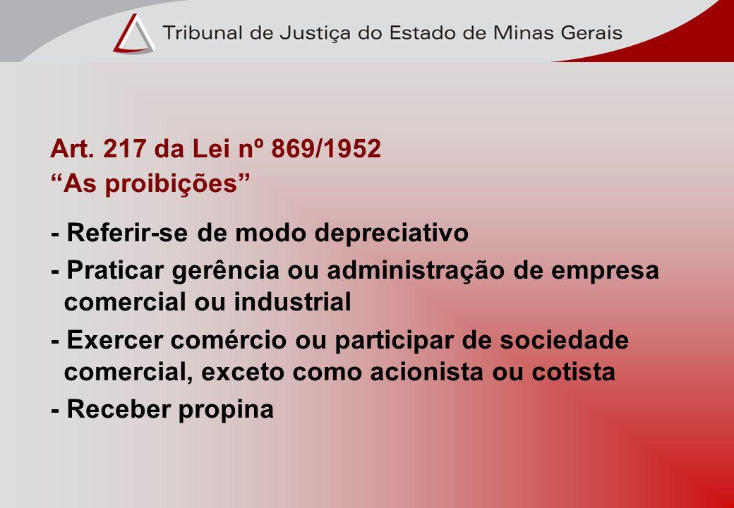 Art. 217 da Lei nº 869/1952 As proibições - Referir-se de modo depreciativo - Praticar gerência ou administração de empresa comercial ou industrial -
