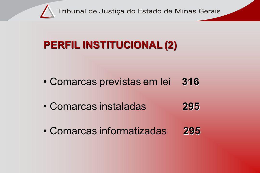 PERFIL INSTITUCIONAL (2) 316 Comarcas previstas em lei 316 295 Comarcas instaladas 295 295 Comarcas informatizadas 295