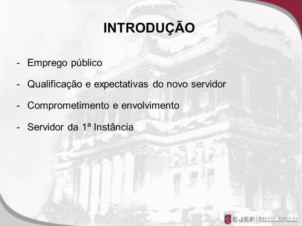 INTRODUÇÃO -Emprego público -Qualificação e expectativas do novo servidor -Comprometimento e envolvimento -Servidor da 1ª Instância