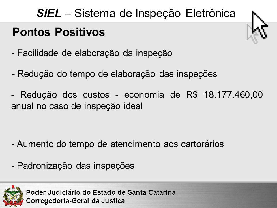 Poder Judiciário do Estado de Santa Catarina Corregedoria-Geral da Justiça SIEL – Sistema de Inspeção Eletrônica Pontos Positivos - Facilidade de elab