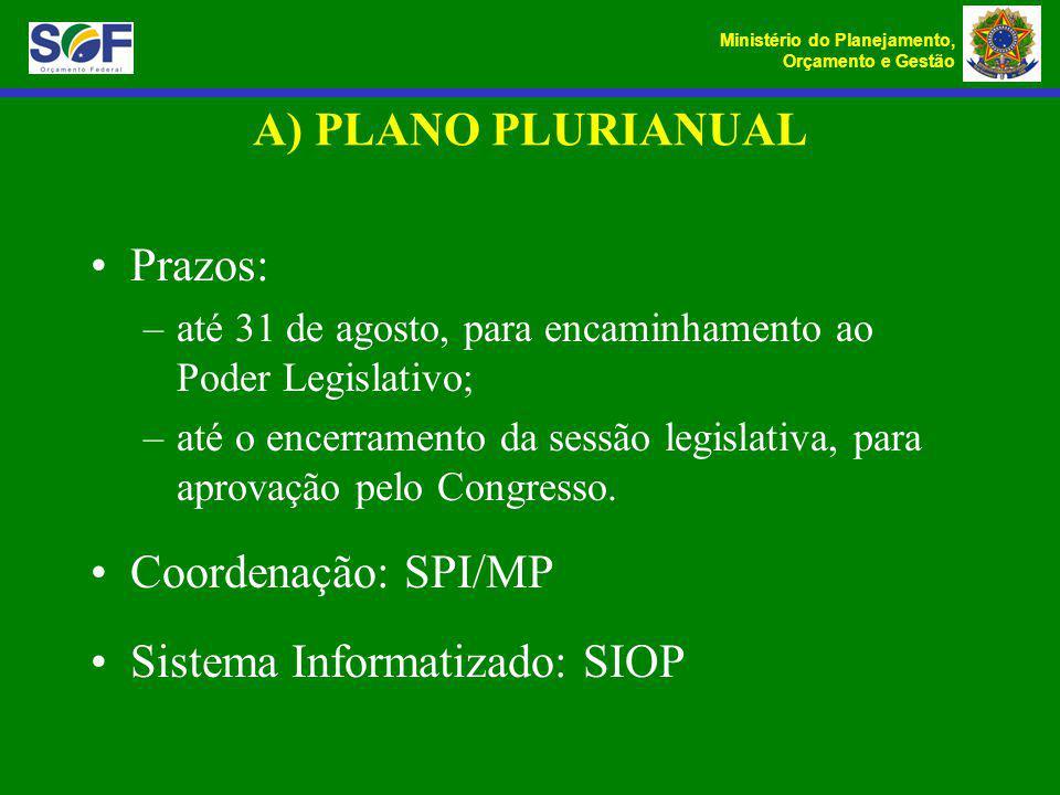 Ministério do Planejamento, Orçamento e Gestão A) PLANO PLURIANUAL Prazos: –até 31 de agosto, para encaminhamento ao Poder Legislativo; –até o encerra