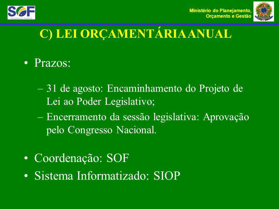 Ministério do Planejamento, Orçamento e Gestão C) LEI ORÇAMENTÁRIA ANUAL Prazos: –31 de agosto: Encaminhamento do Projeto de Lei ao Poder Legislativo;
