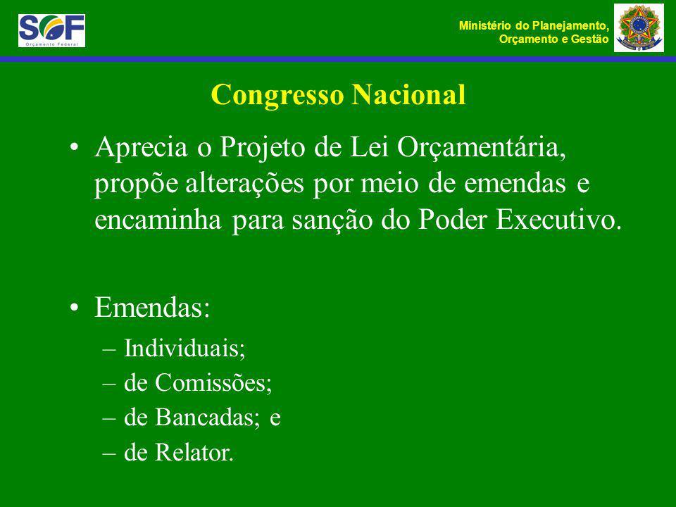 Ministério do Planejamento, Orçamento e Gestão Congresso Nacional Aprecia o Projeto de Lei Orçamentária, propõe alterações por meio de emendas e encam