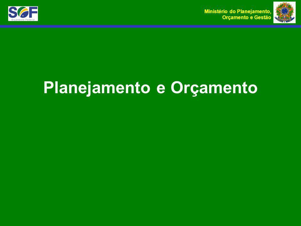 Ministério do Planejamento, Orçamento e Gestão Planejamento e Orçamento
