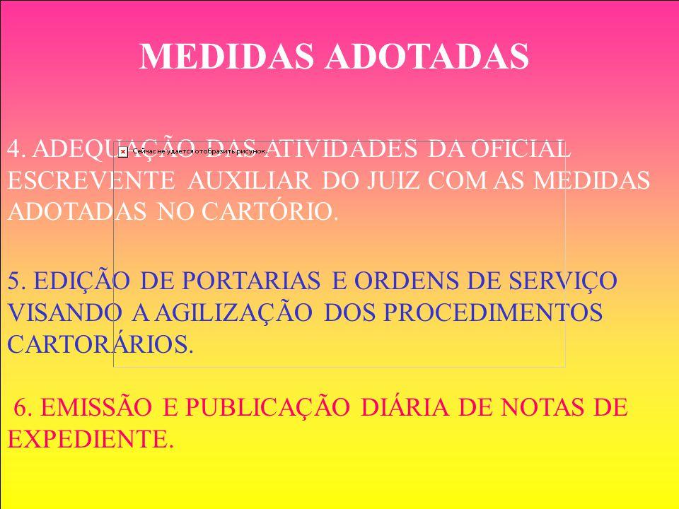 4. ADEQUAÇÃO DAS ATIVIDADES DA OFICIAL ESCREVENTE AUXILIAR DO JUIZ COM AS MEDIDAS ADOTADAS NO CARTÓRIO. 5. EDIÇÃO DE PORTARIAS E ORDENS DE SERVIÇO VIS