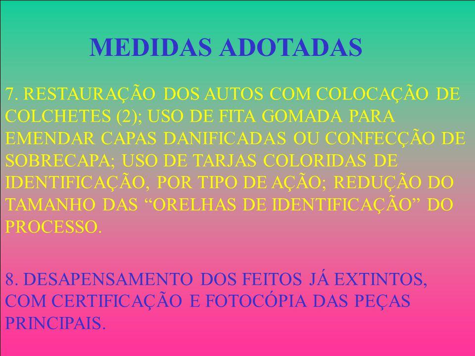 7. RESTAURAÇÃO DOS AUTOS COM COLOCAÇÃO DE COLCHETES (2); USO DE FITA GOMADA PARA EMENDAR CAPAS DANIFICADAS OU CONFECÇÃO DE SOBRECAPA; USO DE TARJAS CO