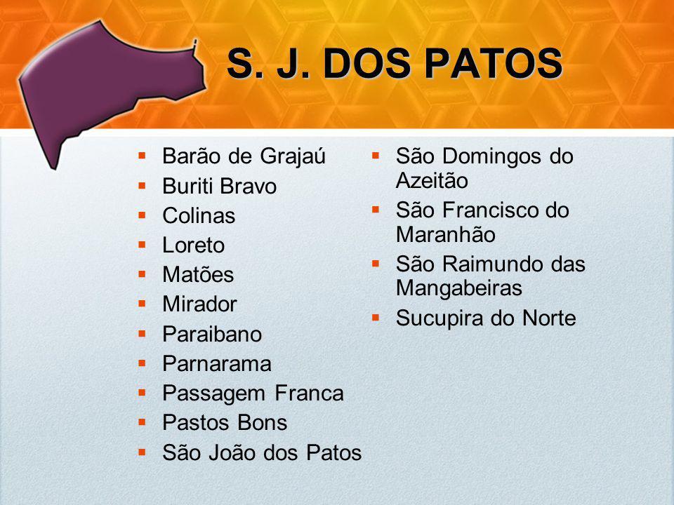 S. J. DOS PATOS Barão de Grajaú Buriti Bravo Colinas Loreto Matões Mirador Paraibano Parnarama Passagem Franca Pastos Bons São João dos Patos São Domi