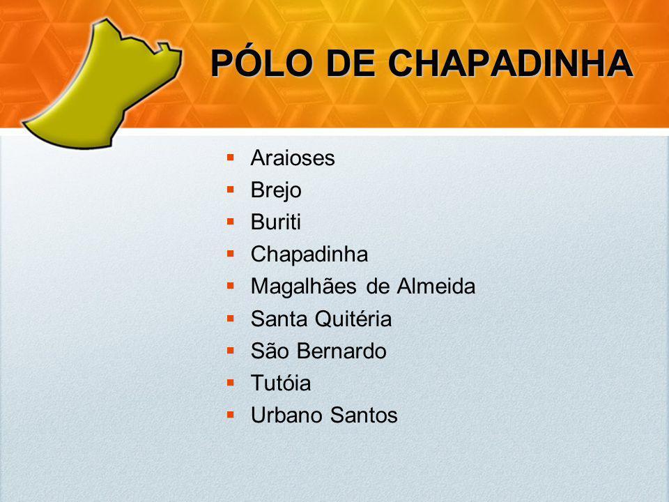 PÓLO DE CHAPADINHA Araioses Brejo Buriti Chapadinha Magalhães de Almeida Santa Quitéria São Bernardo Tutóia Urbano Santos