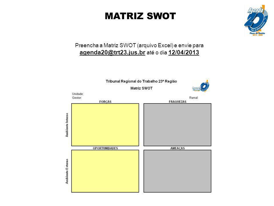 MATRIZ SWOT Preencha a Matriz SWOT (arquivo Excel) e envie para agenda20@trt23.jus.br até o dia 12/04/2013