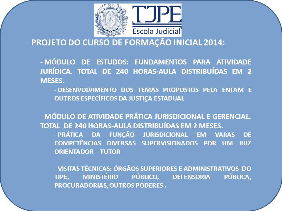 - PROJETO DO CURSO DE FORMAÇÃO INICIAL 2014: - MÓDULO DE ESTUDOS: FUNDAMENTOS PARA ATIVIDADE JURÍDICA.