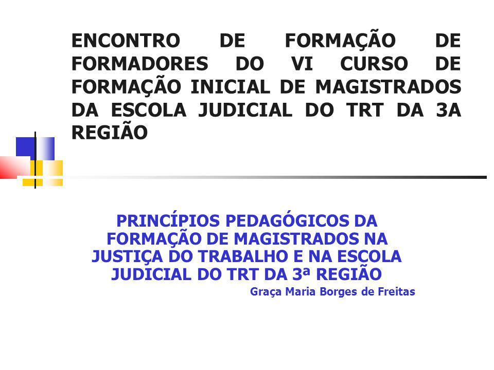 ENCONTRO DE FORMAÇÃO DE FORMADORES DO VI CURSO DE FORMAÇÃO INICIAL DE MAGISTRADOS DA ESCOLA JUDICIAL DO TRT DA 3A REGIÃO PRINCÍPIOS PEDAGÓGICOS DA FORMAÇÃO DE MAGISTRADOS NA JUSTIÇA DO TRABALHO E NA ESCOLA JUDICIAL DO TRT DA 3ª REGIÃO Graça Maria Borges de Freitas
