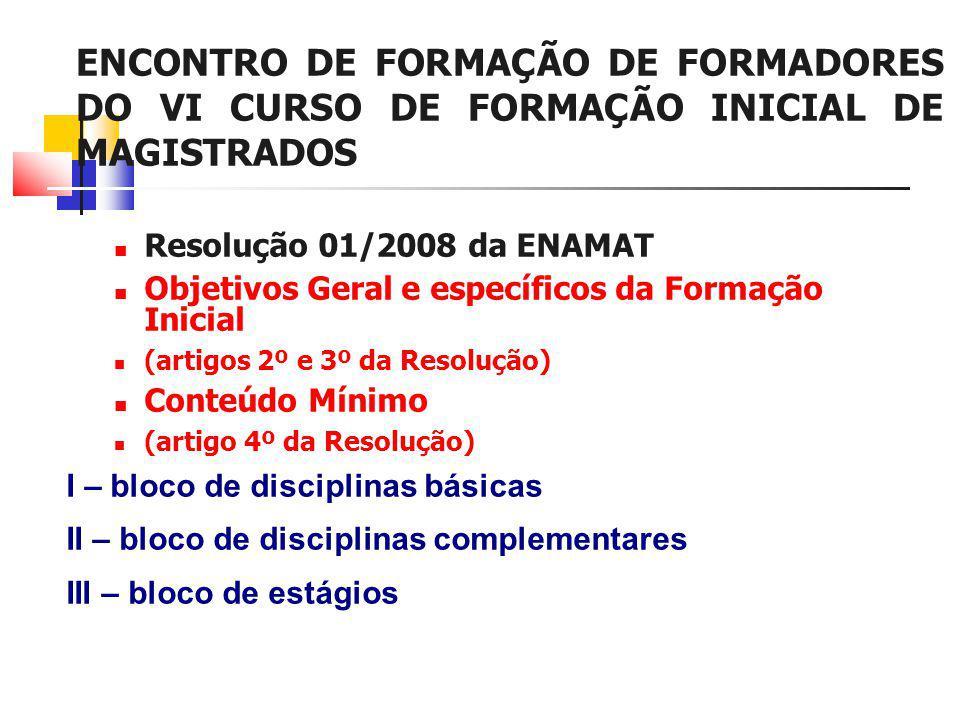 ENCONTRO DE FORMAÇÃO DE FORMADORES DO VI CURSO DE FORMAÇÃO INICIAL DE MAGISTRADOS Resolução 01/2008 da ENAMAT Objetivos Geral e específicos da Formação Inicial (artigos 2º e 3º da Resolução) Conteúdo Mínimo (artigo 4º da Resolução) I – bloco de disciplinas básicas II – bloco de disciplinas complementares III – bloco de estágios
