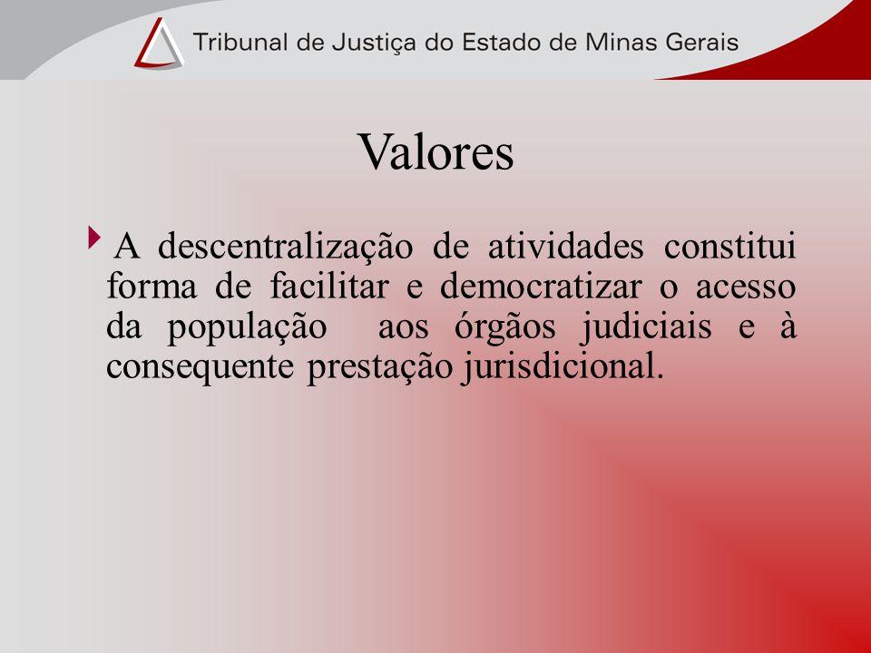 Valores A descentralização de atividades constitui forma de facilitar e democratizar o acesso da população aos órgãos judiciais e à consequente presta