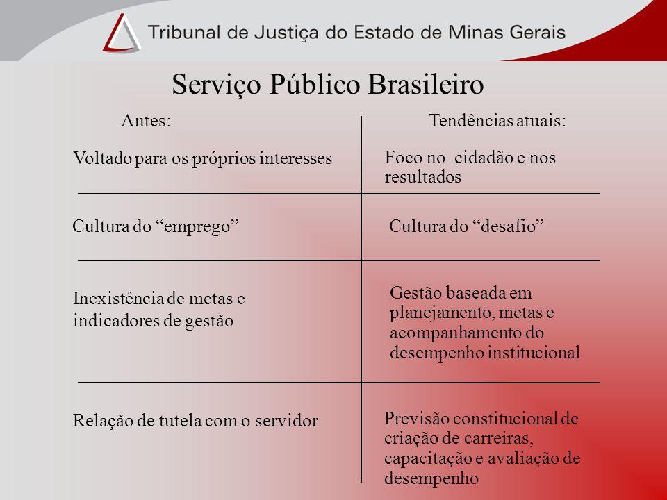 Serviço Público Brasileiro Antes:Tendências atuais: Voltado para os próprios interesses Foco no cidadão e nos resultados Cultura do empregoCultura do