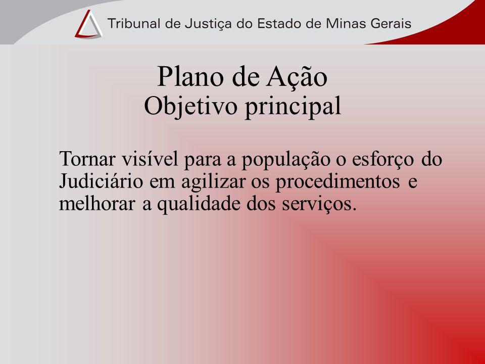 Plano de Ação Objetivo principal Tornar visível para a população o esforço do Judiciário em agilizar os procedimentos e melhorar a qualidade dos serviços.