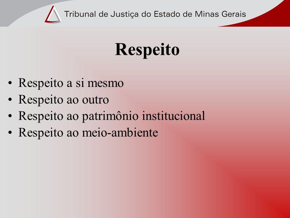 Respeito a si mesmo Respeito ao outro Respeito ao patrimônio institucional Respeito ao meio-ambiente Respeito