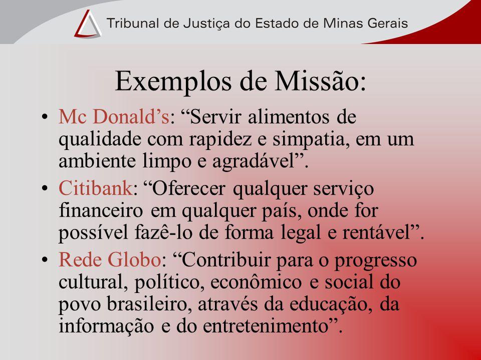 Exemplos de Missão: Mc Donalds: Servir alimentos de qualidade com rapidez e simpatia, em um ambiente limpo e agradável. Citibank: Oferecer qualquer se