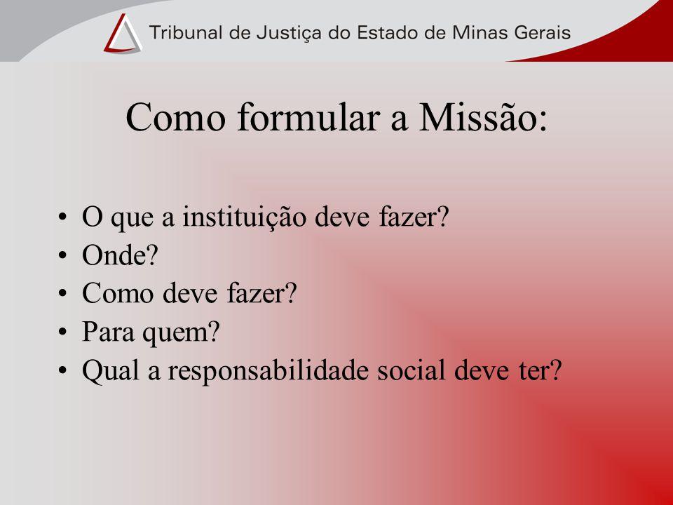 Como formular a Missão: O que a instituição deve fazer? Onde? Como deve fazer? Para quem? Qual a responsabilidade social deve ter?