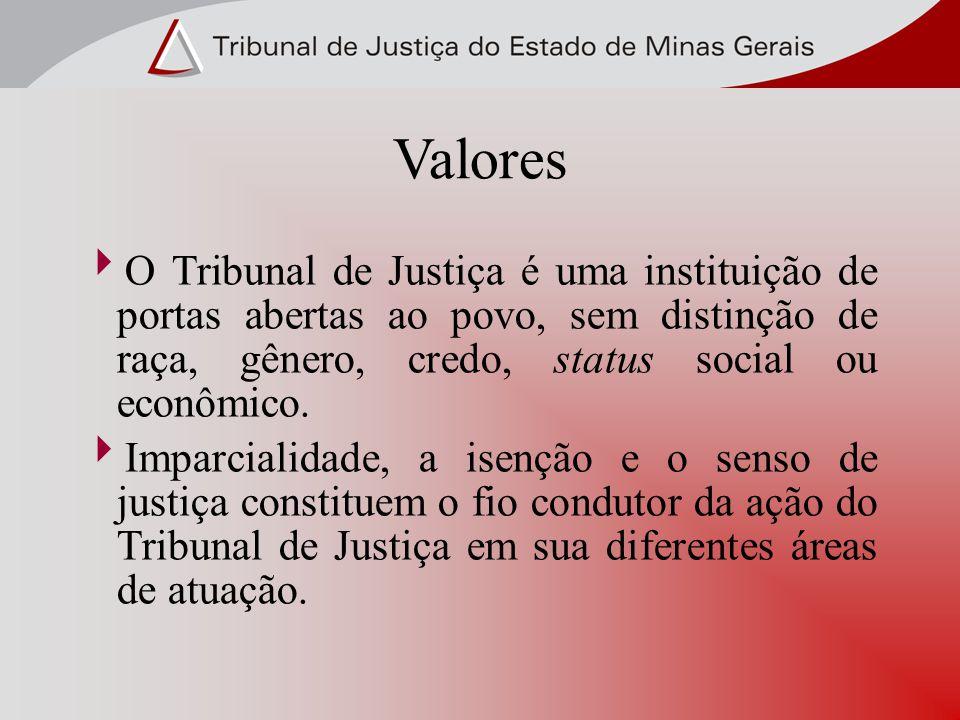 Valores O Tribunal de Justiça é uma instituição de portas abertas ao povo, sem distinção de raça, gênero, credo, status social ou econômico. Imparcial