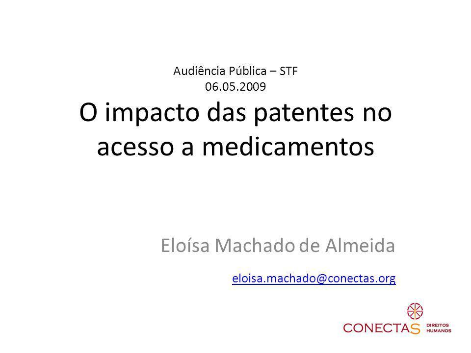 Audiência Pública – STF 06.05.2009 O impacto das patentes no acesso a medicamentos Eloísa Machado de Almeida eloisa.machado@conectas.org