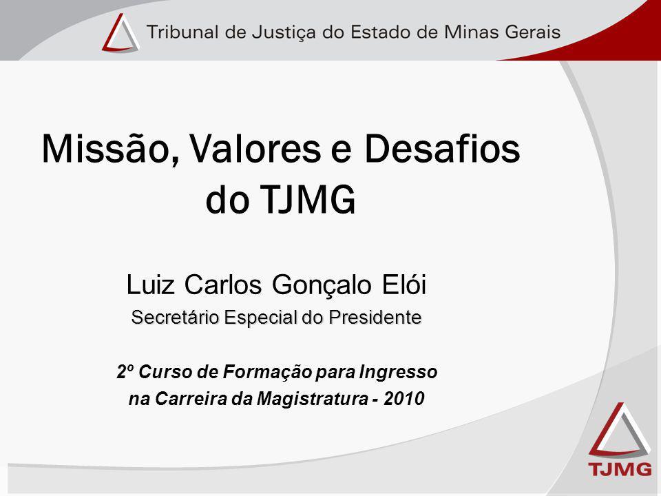 Missão, Valores e Desafios do TJMG Luiz Carlos Gonçalo Elói Secretário Especial do Presidente 2º Curso de Formação para Ingresso na Carreira da Magistratura - 2010