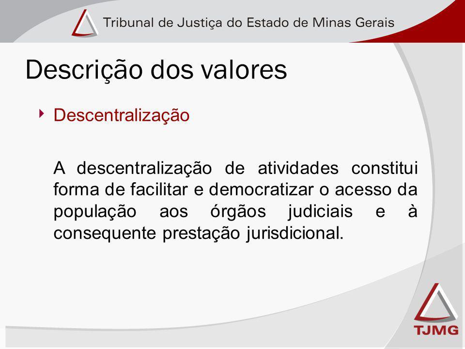 Descentralização A descentralização de atividades constitui forma de facilitar e democratizar o acesso da população aos órgãos judiciais e à consequente prestação jurisdicional.