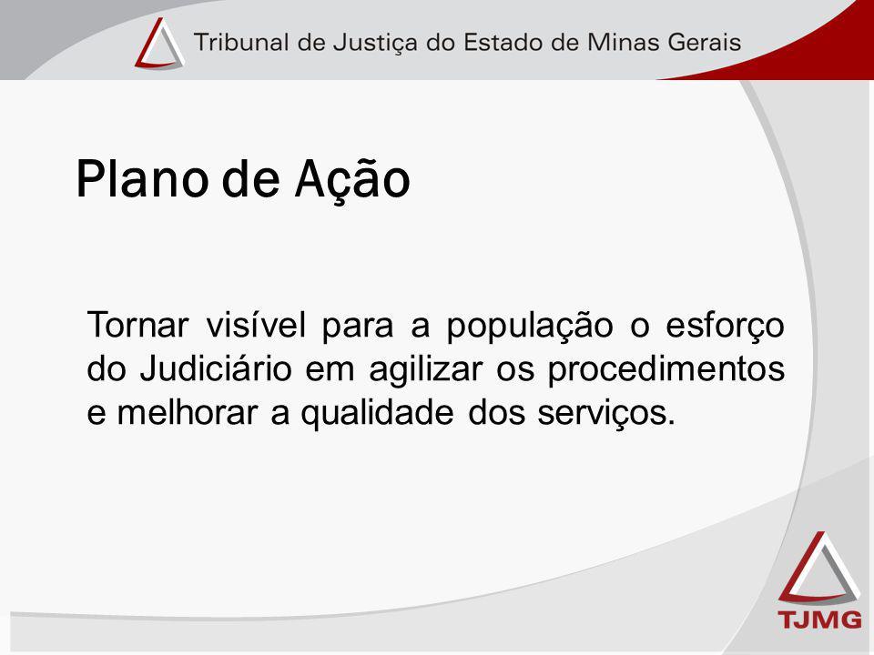 Plano de Ação Tornar visível para a população o esforço do Judiciário em agilizar os procedimentos e melhorar a qualidade dos serviços.