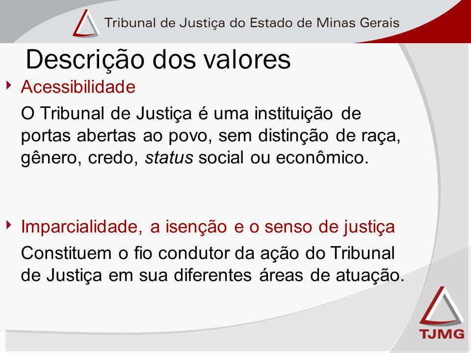 Descrição dos valores Acessibilidade O Tribunal de Justiça é uma instituição de portas abertas ao povo, sem distinção de raça, gênero, credo, status social ou econômico.