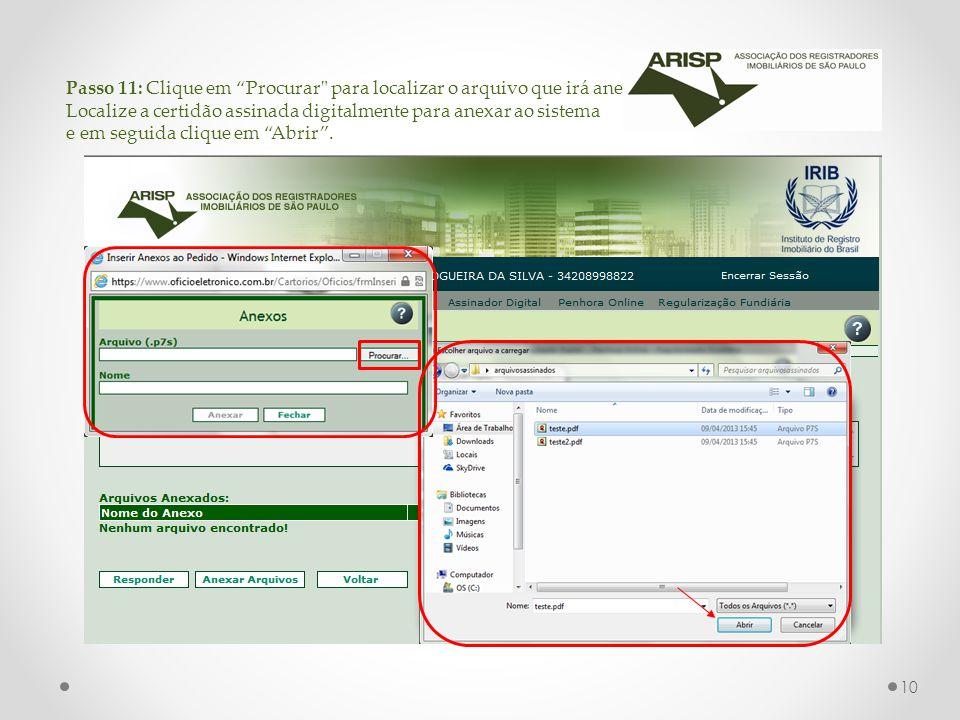 Passo 11: Clique em Procurar para localizar o arquivo que irá anexar.
