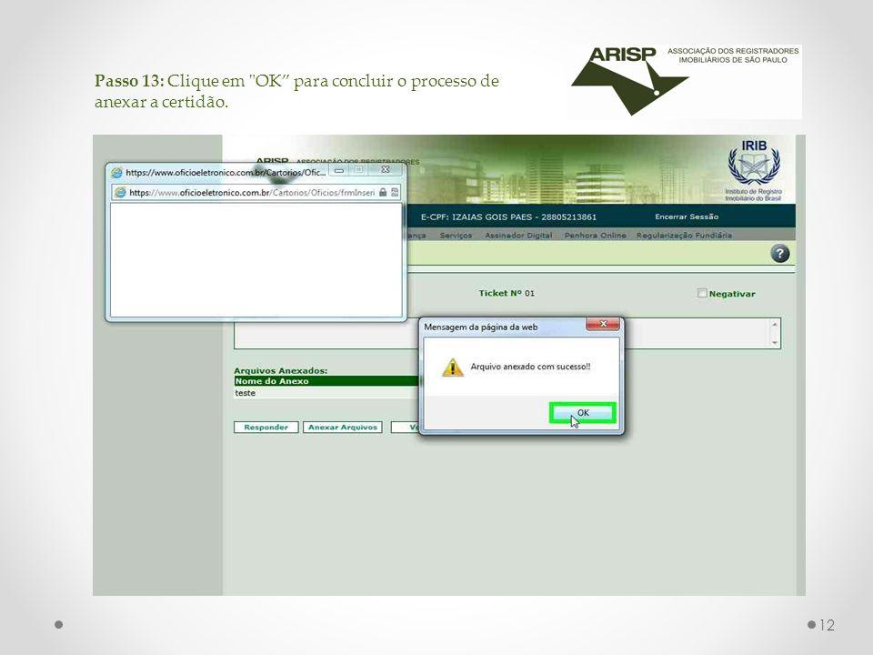 Passo 13: Clique em OK para concluir o processo de anexar a certidão. 12