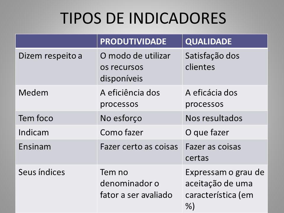 TIPOS DE INDICADORES PRODUTIVIDADEQUALIDADE Dizem respeito aO modo de utilizar os recursos disponíveis Satisfação dos clientes MedemA eficiência dos p
