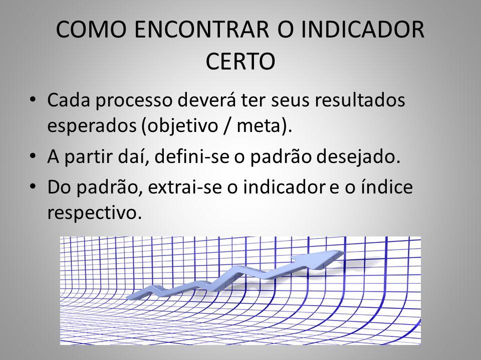 COMO ENCONTRAR O INDICADOR CERTO Cada processo deverá ter seus resultados esperados (objetivo / meta). A partir daí, defini-se o padrão desejado. Do p