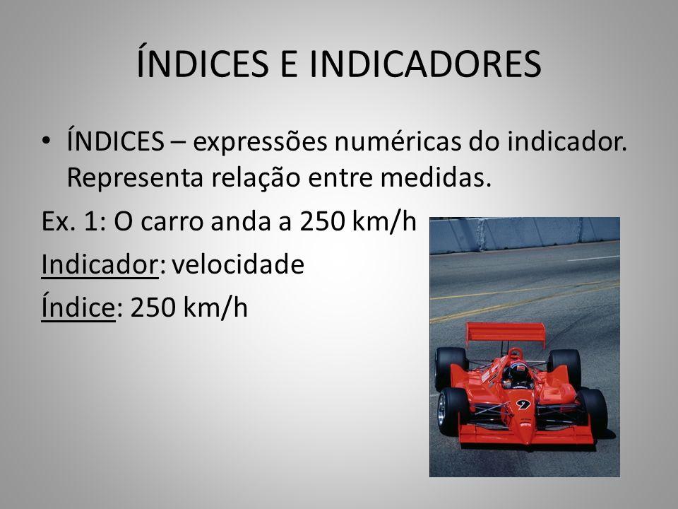 ÍNDICES E INDICADORES ÍNDICES – expressões numéricas do indicador. Representa relação entre medidas. Ex. 1: O carro anda a 250 km/h Indicador: velocid
