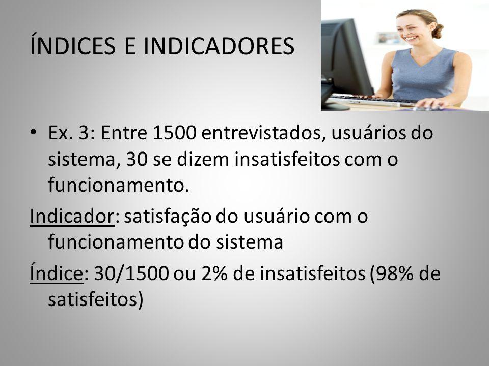 ÍNDICES E INDICADORES Ex. 3: Entre 1500 entrevistados, usuários do sistema, 30 se dizem insatisfeitos com o funcionamento. Indicador: satisfação do us
