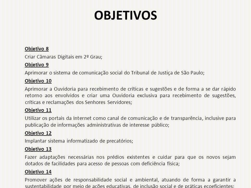 OBJETIVOS Objetivo 8 Criar Câmaras Digitais em 2º Grau; Objetivo 9 Aprimorar o sistema de comunicação social do Tribunal de Justiça de São Paulo; Obje