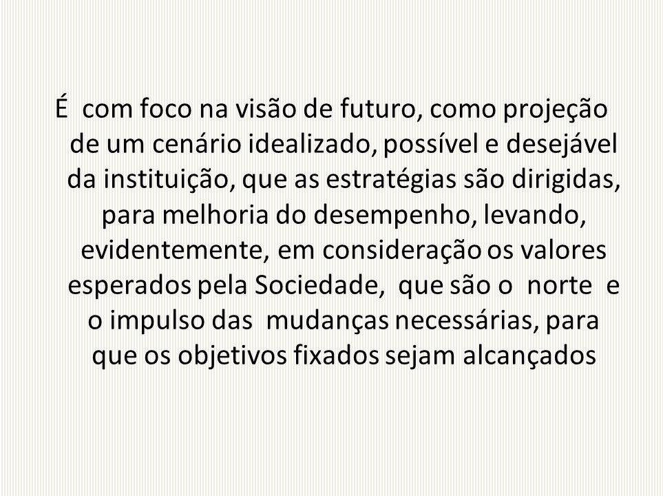 É com foco na visão de futuro, como projeção de um cenário idealizado, possível e desejável da instituição, que as estratégias são dirigidas, para mel