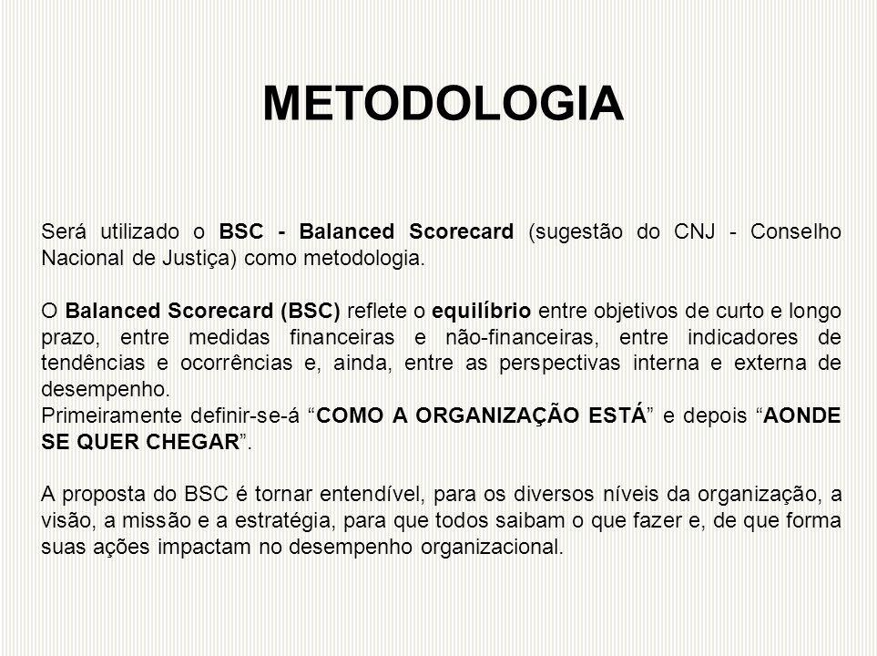Será utilizado o BSC - Balanced Scorecard (sugestão do CNJ - Conselho Nacional de Justiça) como metodologia. O Balanced Scorecard (BSC) reflete o equi