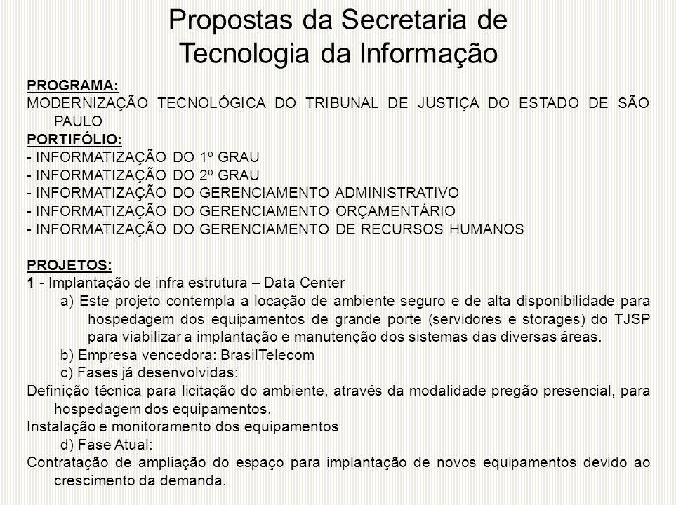 PROGRAMA: MODERNIZAÇÃO TECNOLÓGICA DO TRIBUNAL DE JUSTIÇA DO ESTADO DE SÃO PAULO PORTIFÓLIO: - INFORMATIZAÇÃO DO 1º GRAU - INFORMATIZAÇÃO DO 2º GRAU -