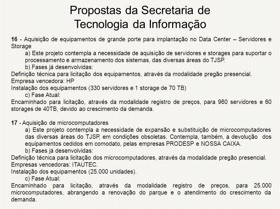 16 - Aquisição de equipamentos de grande porte para implantação no Data Center – Servidores e Storage a) Este projeto contempla a necessidade de aquis