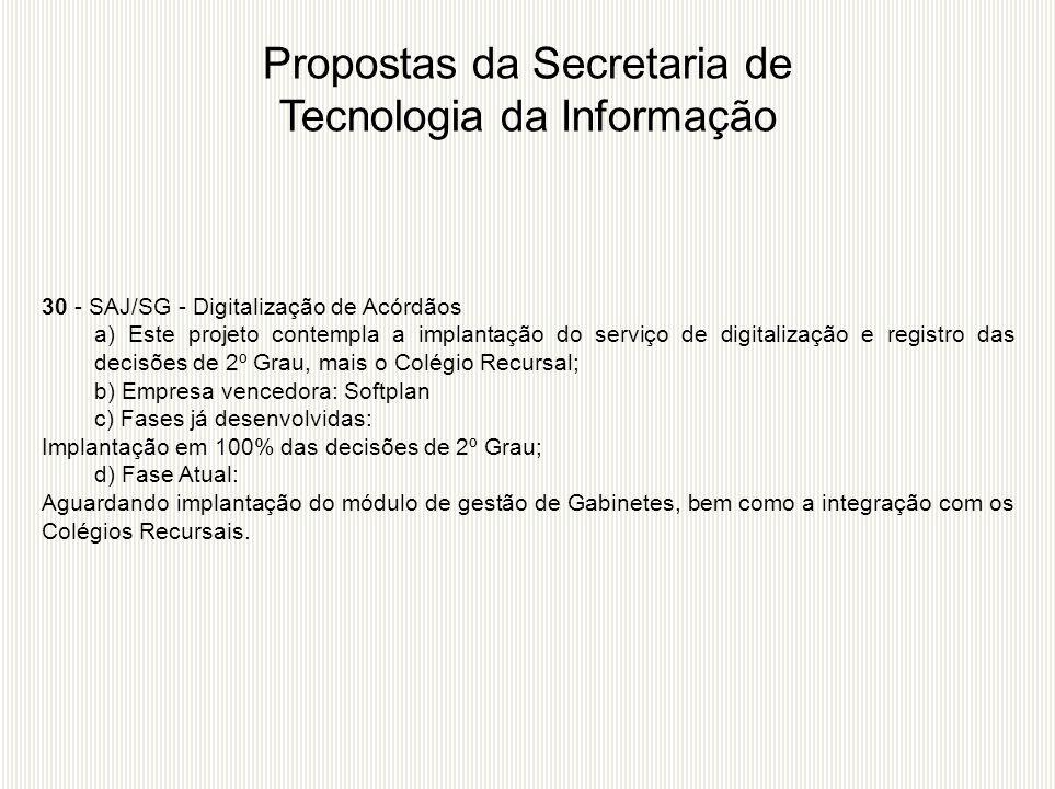 30 - SAJ/SG - Digitalização de Acórdãos a) Este projeto contempla a implantação do serviço de digitalização e registro das decisões de 2º Grau, mais o